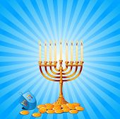 Jewish festival of Hanukkah/Chanukah Background, including Menorah, dreidls/sevivot and Hanukkah Gelt. Raster version.