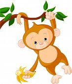 stock photo of banana tree  - Cute baby monkey on a tree holding banana - JPG