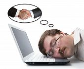 Employee At The Computer Dreaming Agreement