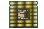 picture of processor socket  - the computer the processor on a white background is isolated gold color with a microcircuit - JPG