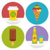 Set Of Sweet Food Icons In Flat Design