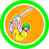 Cricket Player Batsman Batting Circle Cartoon