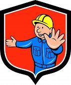 Builder Carpenter Hands Out Cartoon
