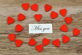 picture of miss you  - Miss you card with little red wooden hearts - JPG