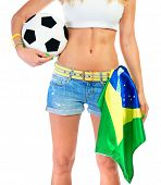 Brazilian football team supporter, body part, sexy woman with perfect body holding ball and Brazil n