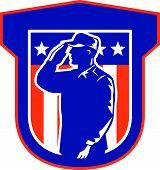 pic of salute  - Illustration of an American military serviceman salute saluting side view with stars and stripes in background set inside a shield done in retro style - JPG