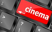 Business Concept: Cinema Key On The Computer Keyboard