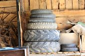 Old wheels in shed