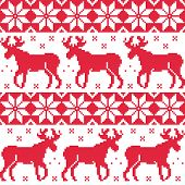 Winter red seamless pattern with reindeer