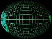 Green Abstract Globe Silhouette With Meridians Grid In Darkness.