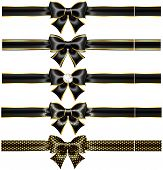 Black Bows With Gold And Ribbons