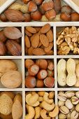 Selection of nuts and almonds in wooden compartments