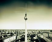 Tv tower or Fersehturm in Berlin, Germany at sunset in green, vintage retro tone