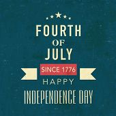 Vintage poster, banner or flyer design with golden text Fourth of July, Happy Independence Day on sea green background.