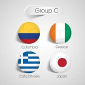 Group C Team Colombia, Greece, Cote d'ivoire and Japan countries flags for