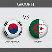 Group H Match Korea Republic v/s Algeria countries flags
