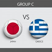 Group C Team Japan v/s Greece countries flags for Soccer Competition in Brazil.