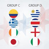 Group C and Group D Teams, Country Flags on stars decorated background.