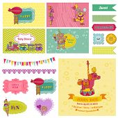 Baby Shower Circus Party Set - for Party Decoration, Scrapbook, Birthday - in vector