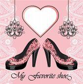 Women's High Heel Shoe, Label , Chandeliers.paisley Border