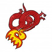 image of fire-breathing  - cartoon dragon breathing fire - JPG