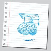 Brain with graduation cap