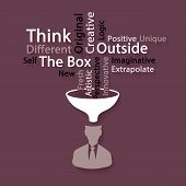 stock photo of thinking outside box  - Think outside the box word cloud concept vector illustration - JPG