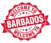 Welcome To Barbados Red Grungy Vintage Isolated Seal