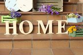 Stair steps decoration with wildflowers and decorative letters