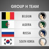 Group H Team Belgium, Algeria, Russia and South Korea countries flags with players face for Soccer