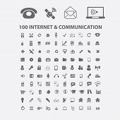 100 internet, communication, phone, mobile, network icons