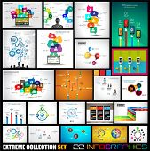 Collection of 22 Infographics for social media and clouds. Flat style UI design elements for your business projects, seo diagrams and solution ranking presentazions