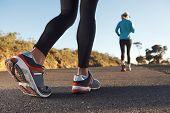 fitness exercising couple training for marathon running lifestyle