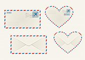 Different airmail envelopes