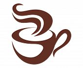 picture of food logo  - Brown and white vector doodle sketch coffee icon with a steaming cup of coffee or tea - JPG