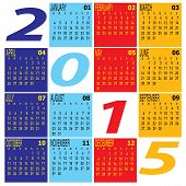 Monthly Year 2015 Colorful Calendar Schedule