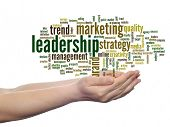 Concept or conceptual abstract business marketing leadership word cloud or wordcloud in man or woman