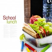 school lunch and  blank chalk board over white