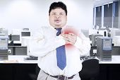 Obesity Businessman Getting Heart Attack
