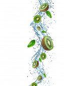 Fresh Kiwi with water splash over white background
