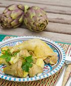 Stewed Artichoke With Potatoes And Chicken