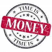 Time Is Money Red Grunge Textured Vintage Isolated Stamp