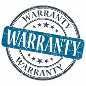 Warranty Blue Grunge Textured Vintage Isolated Stamp