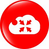 Abstract Cloud Icon. Full Screen Upload Button. Load Symbol. Round Button