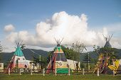 picture of wigwams  - wigwams and blue sky - JPG