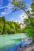 Bavarian scenery - pretty castle on river in Fussen town