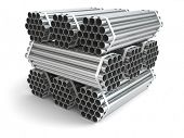 Metal pipes. Steel industry . Three-dimensional image, 3d