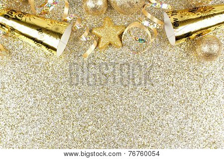 New Years Eve border on shiny gold background Poster ID:76760054