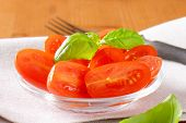 detail of tomato salad with basil on white place mat