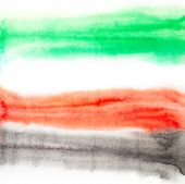 A watercolor background. Colors of united arab emirates flag.